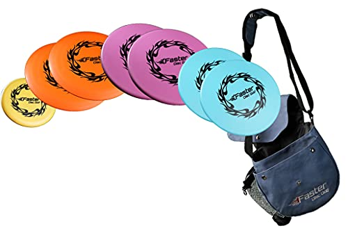 Faster Disc Golf Set. Everything Beginners -Intermediate Golfers Need   7 Discs: 2 Drivers, 2 Mid-Range, 2 Putters, 1 Marker + Quality Carrying Bag with a Water Bottle Pocket