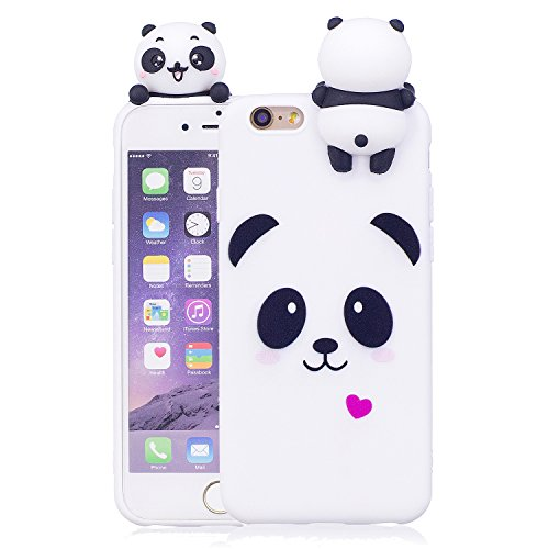 WindTeco Funda iPhone 6 Plus, Carcasa iPhone 6S Plus, Ultra Delgado 3D Panda Funda Protectiva Carcasa de Silicona Gel TPU Case Shock-absorción Teléfono Caso para Apple iPhone 6 Plus / 6S Plus