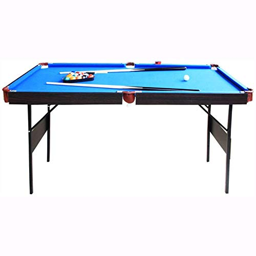 AIPINQI Pool Table, 55 in Folding Billiard Table with Pool Balls Billiard Set for Adults/Kids Mini Pool Game Table Includes Cues, Triangle, Chalk, Brush,Steady Snooker Game Set for Family Time, Blue
