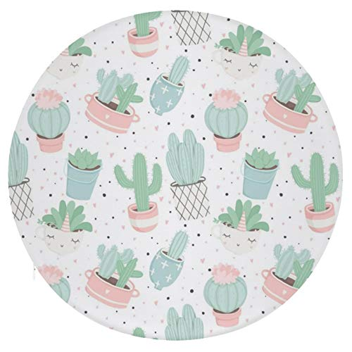 N/A/ Cute Cactus Cushion Round Pillow Thick Seat Cushion Yoga Cushion Floor Pad for Dining Chairs Living Room Bedroom Balcony Garden Party Decoration, 16 Inch