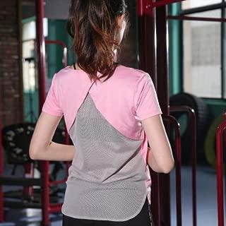 BEESCLOVER Breathable Woman Yoga Top Quick-Drying Sports T-Shirt Back Cross Yoga Top Short-Sleeved Women Yoga Workout Shirt Gym Shirt Yoga