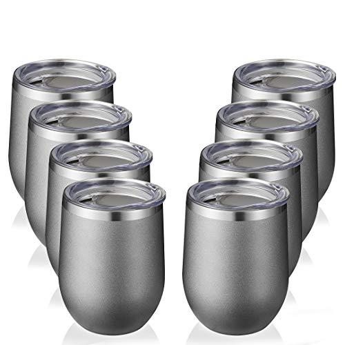 Vaso de acero inoxidable con tapa de 355 ml – Vaso de vino de doble pared aislado al vacío, taza de café con recubrimiento en polvo, para champán, cóctel, cerveza, color gris...