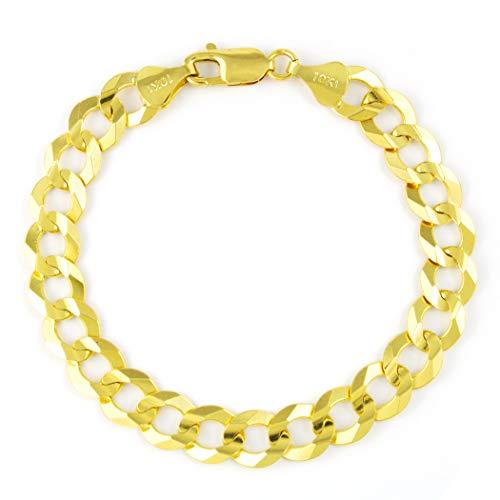 Nuragold 10k Yellow Gold 10mm Solid Cuban Curb Link Chain Bracelet, Mens Jewelry Lobster Lock 8' 8.5' 9'