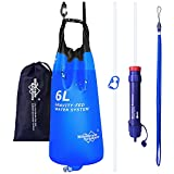 Membrane Solutions Gravity Water Filter Pro 6L, 0.1-Micron Versatile Water Filter Survival with Adjustable Tree Strap, Storage Bag, Survival Gear and Equipment for Group Camping Emergency Preparedness