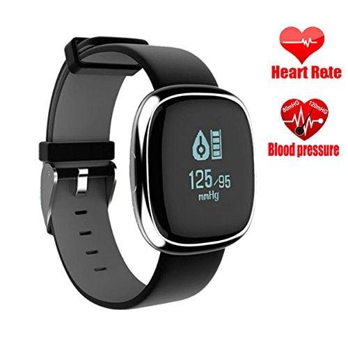 Hangang in acciaio INOX, fitness tracker, sfigmomanometro attività braccialetto, braccialetto cardiofrequenzimetro Smart Track for step, distanza, calorie, monitoraggio del sonno, contapassi e più
