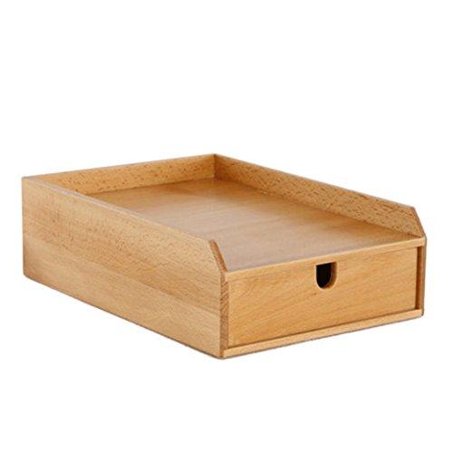 Schreibtisch aus Holz Ablagekorb aus Papier Stapelbarer Aufbewahrungsbehälter aus Papier A4 Vollholzbox (Color : Natural)