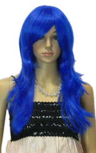 Qiyun Raide Longue Ondule Fonce Bleu Synthetique Cheveux Complete Perruque Cosplay
