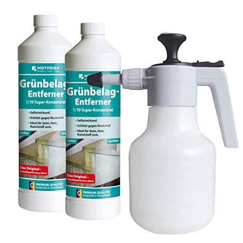 HOTREGA Grünbelag Entferner Super Konzentrat 2L SET + Druckspritze 1,5L - Grünbelag Entferner