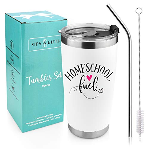 Homeschool Fuel - 20 Ounce Stainless Steel Tea Coffee Mug with Spill Proof Lid and Straw for Mom Teacher During Quarantine