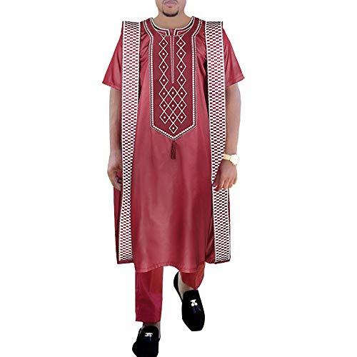 HD Afrikanisches Herren-Kleidungsset mit roter Dashiki-Stickerei Agbada Outfit mit kurzen Ärmeln und langen Hosen -  Rot -  Large