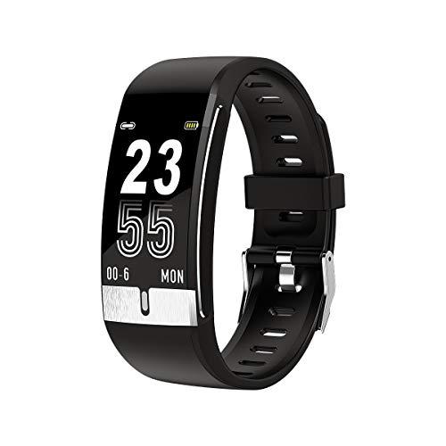 Nayble E66 Gesundheitstracker - Premium Fitness Armband mit Temperatur, Blutdruck und Sauerstoff und EKG - Wasserdichtes Silikon Armband Design - Leicht und bequem - Multi-Sport Modus (Schwarz)