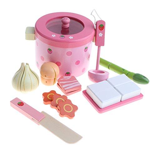 Kinder Spielküche Feuertopf Hot Pot Kochgeschirr und Essen aus Holz Küchenspielzeug Satz - Mehrfarbig