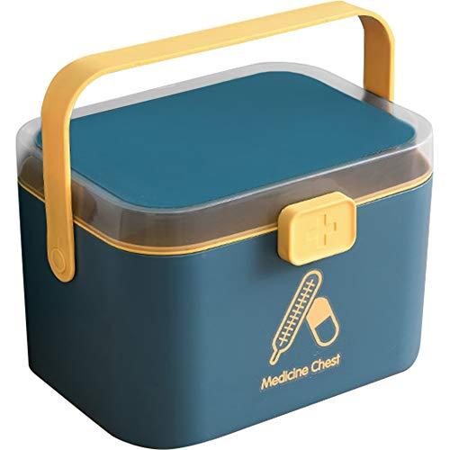 Umora救急箱 収納ボックス 薬箱 薬ケース お薬 箱 工具箱 応急ボックス 薬収納 小物収納 2段式 ハンドル付き 多機能ケース 応急手当箱(Medium ブルー)