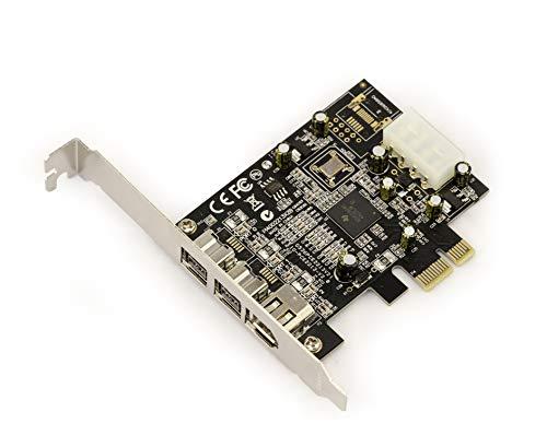 KALEA-INFORMATIQUE PCI-Express-Karte/Controller-Karte (FireWire 800 und 400 / IEEE 1394a und IEEE 1394b über PCIe 1x, 2+1 Ausgänge, Chipsatz TI XI02213BZAY