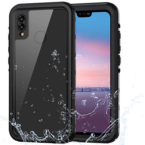 Lanhiem Cover Huawei P20 Lite,Custodia Impermeabile P20 Lite[IP68 Certificato Waterproof] Full Body con Protezione dello Schermo Antiurto Antineve Antipolvere AntiGraffio Caso per P20 Lite,Nero