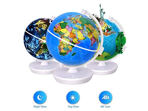 Oregon Scientific Smart World Globe - 3 in 1 Illuminated Globe with Built-in Augmented Reality Technology Earth by Day Constellations by Night