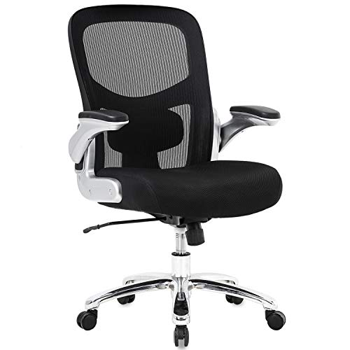 Big and Tall Office Chair Mesh Computer Chair Ergonomic Chair 500lbs Wide Seat with Lumbar Support Flip UP Arms Rolling Swivel High Back Desk Chair for Women, Adults