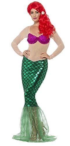 SMIFFYS Costume Sirenetta sexy Deluxe, verde, vestito con paillette e clip per capelli