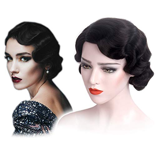 STfantasy Finger Wave Wig Short Curly Synthetic Hair for Women 1920s Cosplay Costume Halloween Party Daily Everyday Wear (Black)