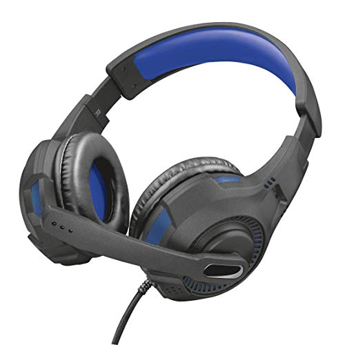 Trust Gaming GXT 307B Ravu Cuffie per Playstation 4 & 5, PS4, PS5, con Microfono Ripiegabile e Archetto Regolabile, 3.5 mm Jack, Filo, Over Ear, Blu