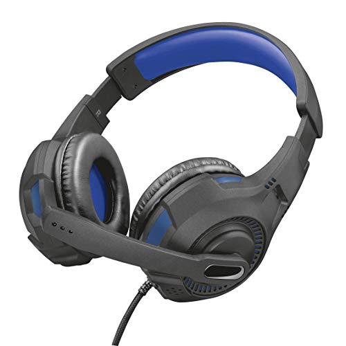 Trust Gaming GXT 307B Ravu Cuffie per Playstation 4 & 5, PS4, PS5, con Microfono Ripiegabile e Archetto Regolabile, 3.5 mm Jack, Filo, Over Ear, Blu