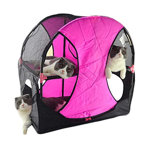 Túneles para Gatos Rosado, Parque Mascotas De Juego Cama Rueda Fortuna Juguete Jaula Plegable Tienda Corralito Casa Vallas