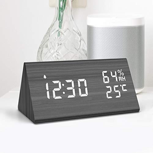 NBPOWER Wecker Digitaler LED Wecker Uhr Holz,Digitalwecker Tischuhr mit Sprachsteuerung/Snooze Funktion/Datum/Temperatur und Luftfeuchtigkeit, für Zuhause, Schlafzimmer, Nacht Kinder und Büro