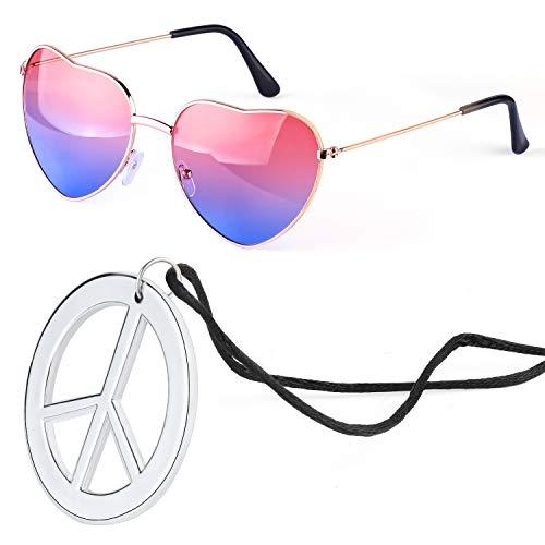 Beelittle Conjunto de Accesorios de aderezo Hippie Gafas de Sol en Forma de corazón Marco de Metal Fino Estilo de corazón y Signo de la Paz Collar (Rosado Azul)