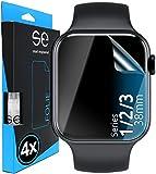 smart engineered [4 Stück] 3D Schutzfolien kompatibel mit Apple Watch 38mm (Series 3/2 / 1), durchsichtige HD Bildschirmschutz-Folie, Schutz vor Dreck & Kratzern, kein Schutzglas