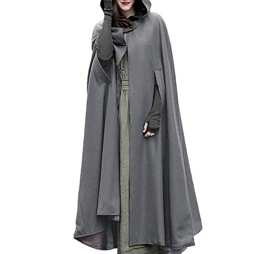 HaiDean Damen Kleider Karneval Kostüm Mittelalter Kostüm Kostüm Luxuriös Modernas Trenchcoat Cardigan Mit Offener Vorderseite Mantel Mantel Cape Poncho (Color : Grau, Size : M)