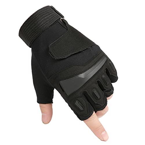Guantes de Medio Dedo para Hombre, para Deportes al Aire Libre, protección, conducción, conducción, Lucha, tácticos, Medio Dedo (A4, M)