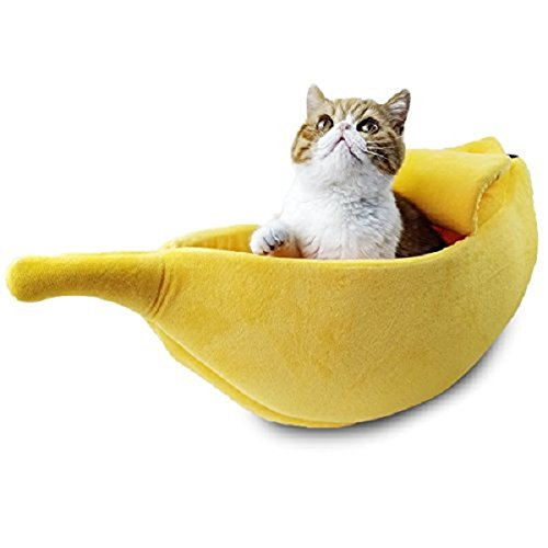 WarmShe Pet Cat Bed House Cute Banana, Warm Soft Punny Dogs Sofa Sleeping Playing Resting Bed, Lovely Pet Supplies for Cats Kittens, Medium