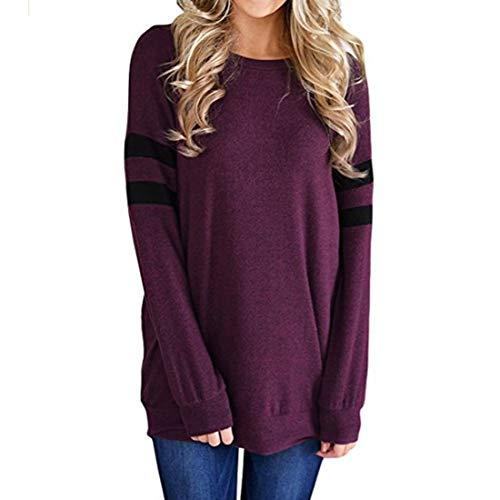 PAOMO Damen Sweatshirt Casual Farbblock Langarmshirt Rundhals Pulli Bluse Top...
