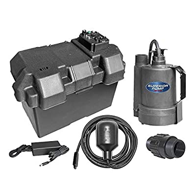 Superior Pump Powered Battery Back Up Sump Pump With Vertical Switch