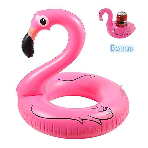 Aufblasbare Flamingo Schwimmring Float Raft 110cm, Riesenaußenpool Float Lounge Spielzeug für Erwachsene & Kinder mit Pool Getränkehalter