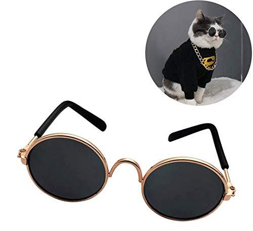 owbb® 2 STÜCKE Haustier Sonnenbrille, Mode Hund Katze runde Brille Haustier Foto Requisiten, lustige Kopfbedeckungen, Haustierzubehör, Katzenbrille/schwarz