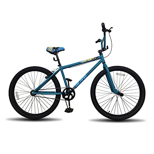 Hiland 24 inch BMX Bike Beginner-Level to Advanced Riders with 2 Pegs Steel Frame Blue