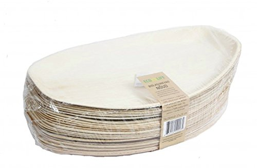 EcoLife Premium 14.6 inch x 9.8 inch Platter tray Natural Areca Palm Leaf Plate, Eco-Friendly and Disposable for Home and Catering, Package of 25