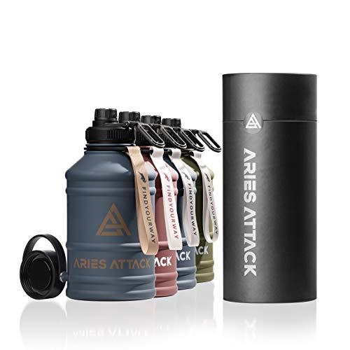 ARIES ATTACK Trinkflasche Edelstahl 2L - Water Jug mit 2 Verschlüssen - BPA Frei - Stabil und Auslaufsicher - 2.2 L Water Bottle für Fitness, Crossfit, Gym und Outdoor - Kohlensäure Geeignet - Dubai