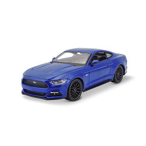 Bauer Spielwaren Maisto Ford Mustang GT (2015): Modellauto im Maßstab 1:24, Türen und Motorhaube zum Öffnen, 20 cm, blau (531508B)