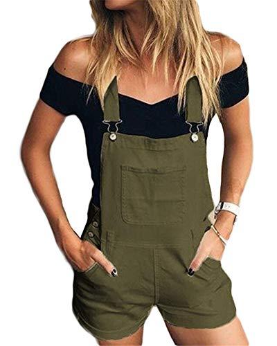 Femmes Jeans Salopette Short Combinaison Shorts en Jean Denim Sexy Shorts À Bretelles Casual Pants Slim,Vert,S