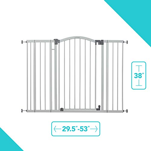 "Summer Extra Tall & Wide Safety Baby Gate, Cool Gray Metal Frame – 38"" Tall, Fits Openings 29.5"" to 53"" Wide, Baby and Pet Gate for Extra-Wide Doorways, Stairs, and Wide Spaces"