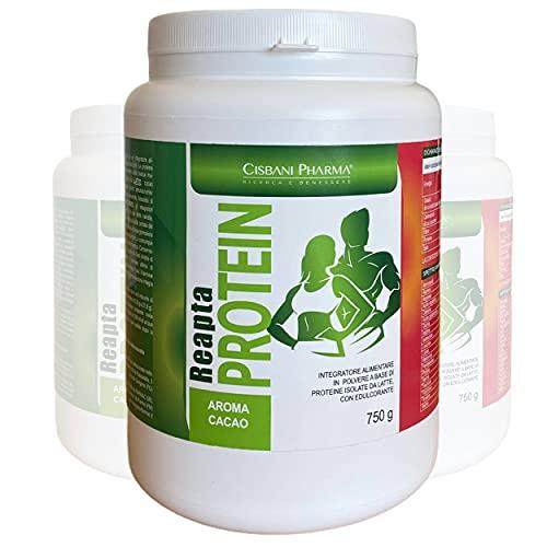 ReaptaProtein, PROTEINE WHEY, proteine in polvere isolate del siero del latte | Gusto Cacao, 750 gr, 69 porzioni, 85% di proteine | Ricchi di Amminoacidi, aumento massa muscolare e recupero da sforzo
