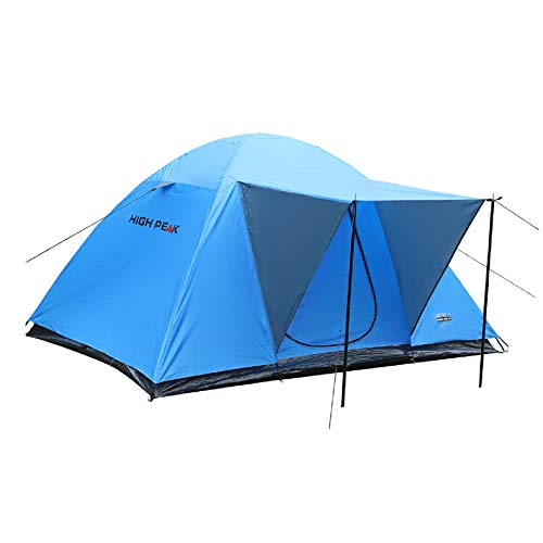 High Peak 4 Person Dome Tent with Stem, 1500 mm Hydrostatic Head, 190T Polyester Breathable and Waterproof, Easy and Quick to Assemble, Blue, Includes Small Carry Bag