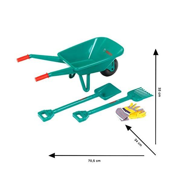 Theo Klein 2752 Bosch Garden Set with Wheelbarrow I With Shovel, Rake and Gardening Gloves I Dimensions: 70.5 cm x 34 cm…