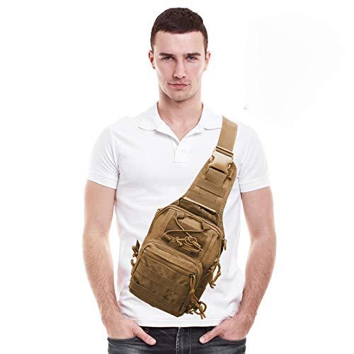 AIRSSON Tactical Shoulder Sling Backpack,Military Sport Pack,Fishing Bag,Chest Pack for Men Rover Sling Pack Trekking Hunting (Tan 1)