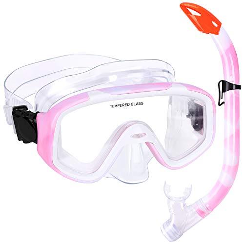 Kinder Schnorchelset Schnorcheln Taucherbrille mit 180° Panorama Sichtfeld Tauchmaske Schnorchelmaske Tauchen Set wasserdichte Schnorchelbrillen für Junge Mädchen (Rosa)
