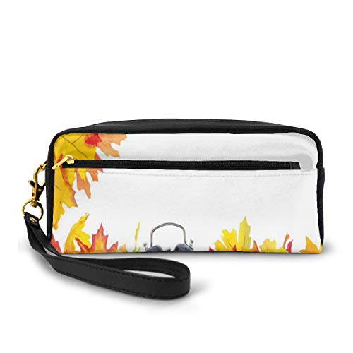 Pencil Case Pen Bag Pouch Stationary,Autumnal Leaves And An Alarm Clock Fall Season Theme Romantic Digital Print,Small Makeup Bag Coin Purse
