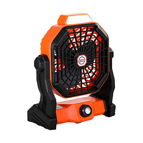 Portable Camping Fan with LED Light, Powerful and Quiet 270° Adjustment Built-in 5400mAh Lithium Battery USB Rechargeable Stepless Adjustable Speed Table Fan Tent Fan for Outdoor Indoor Home Office