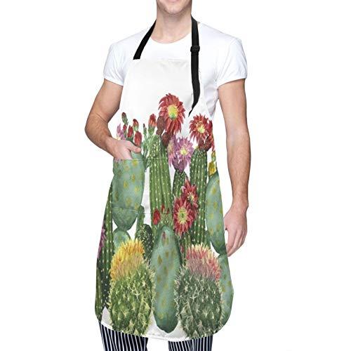 Ajustable Colgante de Cuello Personalizado Delantal Impermeable,Saguaro Barril Hedge Hog Nopal Opuntia Tropical Botánica Plantas Jardín,Babero de Cocina Vestido para Hombres Mujeres con 2 Bolsillos